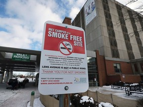 A no smoking sign is shown on January 1, 2018 at the Windsor Regional Hospital Met Campus. Smoking is now banned on all hospital property.