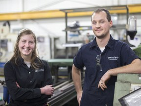 Chelynne Schram, 26, left, and Jeff Lemmon, 28, graduates out of the St. Clair College Skilled Trades Regional Training Centre are pictured during a press event celebrating the one-year anniversary of the centre on Jan. 23,  2018.
