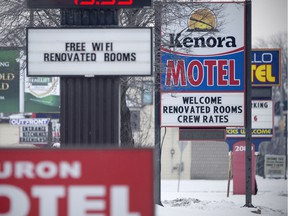 A line of motels on Huron Church Road is pictured on Feb. 8, 2018.