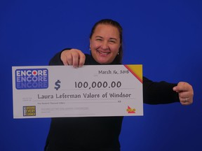 Laura Leferman Valore of Windsor won $100,000 playing ENCORE on the Feb. 3, 2018 Lotto 6/49 draw.