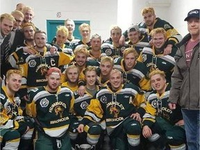 Members of the Humboldt Broncos junior hockey team are shown in a photo posted to the team Twitter feed, @HumboldtBroncos on March 24, 2018 after a playoff win over the Melfort Mustangs. RCMP say they are at the scene of a fatal collision involving a transport truck and a bus carrying the Humboldt Broncos northeast of Saskatoon.