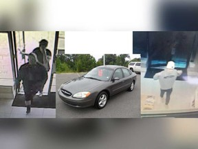 Surveillance camera images released by LaSalle police showing suspects in thefts from the Windsor Crossing outlet mall from April 19 to 21.