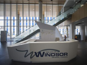 The front desk in the lobby of the new City Hall building is shown, Tuesday, May 15, 2018.