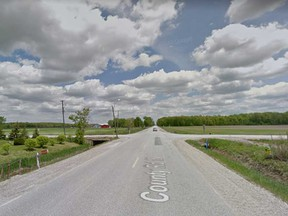 County Road 18 approaching the intersection with County Road 15 near Essex is shown in this 2014 Google Maps image.