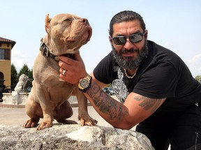 Aladdin Khalifa, owner of Elite K9K on Concession 6 North in Amherstburg Aug. 17, 2018. Khalifa poses with a pocket bully named Gladius outside his family home.