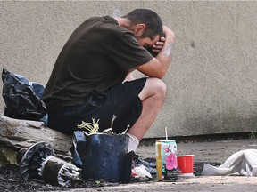 A homeless man sits across the street from the Salvation Army on Park Street West on Wednesday June 27, 2018 in Windsor. A local group is looking to address homelessness and mental health issues in the community.