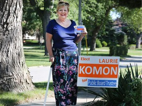 Critical of incumbent's attendance record. Public school board trustee candidate Laurie Komon is shown at her Riverside home on Sept. 11, 2018.