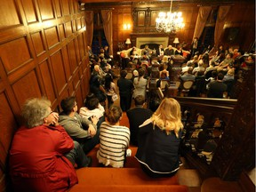 In this Oct. 17, 2017, file photo, it was standing room only at last year's Poetry at the Manor. The poetry event of the year saw Marty Gervais welcome Poets Laureate from across Canada to Windsor's historic Willistead Manor for a night of poetry and storytelling. Poets in attendance in 2017 were Deirdre Kessler, Laurence Hutchman, Tom Cull, John B. Lee, and Kim Fahner.