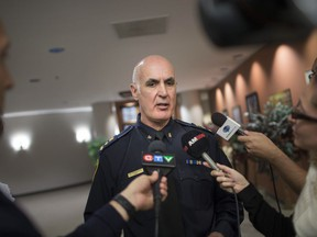 Windsor Police Chief Al Frederick speaks to the media following a Windsor Police Services Board meeting, Thursday, Sept. 27, 2018.
