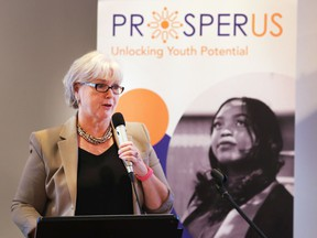 Janice Kaffer, president and CEO of Hotel-Dieu Grace Healthcare and co-chair of the ProsperUs Cradle to Career Community organization, speaks at a press conference on Sept. 14, 2018 at MacKenzie Hall in Windsor.