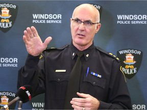 Windsor Police Chief Al Frederick speaks on Tuesday, November 13, 2018, at the downtown headquarters regarding opioid related issues in the city.