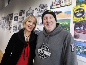 """Elaine Weeks and Chris Edwards of Walkerville Publishing are shown at the Artspeak Gallery on Monday, December 10, 2018. They are curating a photo exhibition """"A River Runs Between Us"""" that focuses on the unprecedented relationship between Windsor and Detroit."""