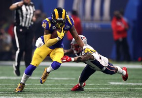 Rams running back Todd Gurley (left) only touched the ball 11 times in the Rams' loss to the Patriots in the Super Bowl on Sunday. Getty Images