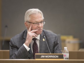 Ward 10 Coun. Jim Morrison is shown at the Jan. 7, 2019, city council meeting. At the new council's most recent meeting, Morrison asked for a report from administration on a new municipal auditor general's position.