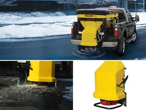Advertising images for a SnowEx brand salt spreader, similar to the one stolen from the back of a pickup truck in LaSalle between Jan. 31 and Feb. 5, 2019.