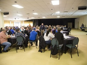 Hundreds came out to hear Iain DeJong, president and CEO of OrgCode speaks at a forum on homelessness in the Carousel Room of Western Fair District in London on Friday. (Derek Ruttan/The London Free Press)