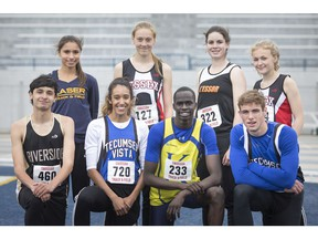 WECSSAA track and field all-stars, back row from left to right, St. Joseph Lasers' Nicole LaRue, Essex Red Raiders' Taylor Campeau, L'Essor Aigles Rose Forshaw, Essex's Kyra McKibbin and front row, left to right, Riverside Rebels' Syelis Brooks, Vista Academy Vortex's Krystalann Bechard, Kennedy Clippers Akot Akin and Vista Academy's Gage Marshall. Missing is Sandwich Sabres' Ronan Radovich.