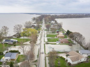 This aerial view taken May 1, 2019, shows the extent of Lake Erie flooding on homes along Cotterie Park Road north of Hillman Marsh in Leamington.