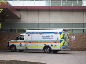 Ambulances are parked outside Windsor Regional Hospital - Ouellette Campus, Thursday, May 2, 2019.