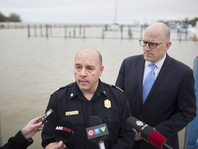 Mayor Drew Dilkens and fire chief, Stephen Laforet, speak to the media on the city's flood preparedness while at Lakeview Park Marina, Friday, May 3, 2019.