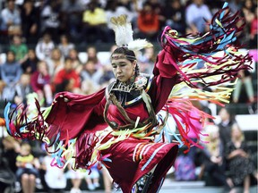 June is National Indigenous History Month in Canada. Local students were treated to a PowWow ceremony on Thursday, June 6, 2019, at the St. Clair College Sportsplex in Windsor.  Traditional dancer Nikki Dashner of Walpole Island performs during the event.