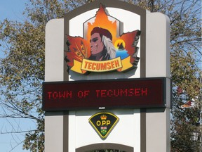 The Tecumseh logo is seen at the OPP headquarters near the municipal offices.