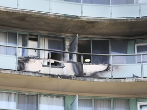 Damage is estimated at $30,000 following a fire at Le Goyeau apartments at the corner of Riverside Dr. and Goyeau St. which broke out around midnight Friday, August 9, 2019. The damage is shown on Saturday, August 10, 2019.