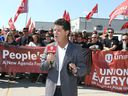 Factory shutdown. Unifor national president Jerry Dias announces Sept. 2, 2019, that the union will be holding a continuous protest outside the Nemak plant on Ojibway Parkway in west Windsor.