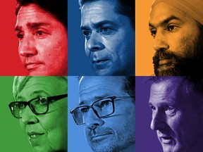 Six party leaders photo illustration.