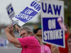 General Motors assembly workers picket outside the General Motors Bowling Green plant during the United Auto Workers (UAW) national strike in Bowling Green, Kentucky, U.S., October 10, 2019.