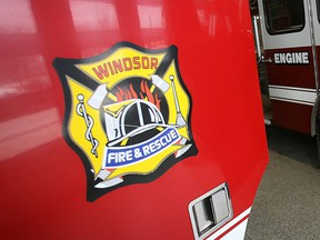 Insignia of Windsor Fire and Rescue Services on a firefighting vehicle in 2007.