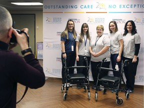 Patients recovering in hospital can lose up to 5% of their muscle mass each day. In September, the Windsor Regional Mobility team launched the Movement Matters Program to keep at risk patients strong by motivating them to get up and moving. Ambulation assistants, from left, Julia Bodnar, Erica Costello, Shelly Bechard, Cait Stiles and Tara Corra-Pella pose for a photo at the Met Campus on Tuesday, December 3, 2019 during a press conference.