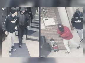 Security camera images of three males who robbed a residence in the 600 block of Aylmer Avenue between Jan. 3 and Jan. 4, 2020.