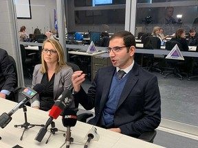 Don't panic but be vigilant regarding COVID-19. Windsor Regional Hospital chief of staff Dr. Wassim Saad, right, and Erika Vitale, WRH's infection prevention and control manager, address media at the City of Windsor's emergency operations centre on Feb. 28, 2020.