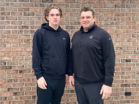 Up for Saturday's OHL Draft, Colton Smith, left, will follow in the footsteps of his dad D.J. Smith, who was captain of the Windsor Spitfires before becoming head coach of the Ottawa Senators, into the league.