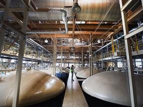 Fermentation tanks are shown at the Hiram Walker and Sons distillery on Tuesday, Sept. 14, 2016.