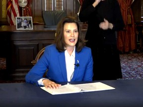 Michigan state governor Gretchen Whitmer during an announcement from her office on March 23, 2020.