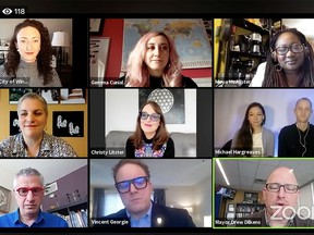 Windsor Mayor Drew Dilkens hosts an online Zoom meeting with local community representatives regarding funding for the arts during the pandemic on Wednesday, April 15, 2020.