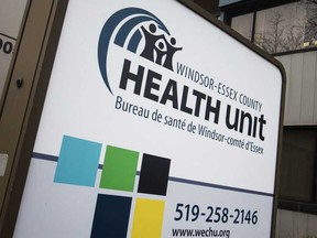 The sign outside the Windsor-Essex County Health Unit offices on Ouellette Avenue on March 19, 2020.