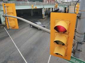 Traffic lights are shown at the intersection of Wyandotte and Drouillard in Windsor on Thursday, April 30, 2020.
