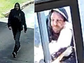 Surveillance camera images of a man alleged to have committed a sexual assault and an assault in Windsor's west end on April 2, 2020.