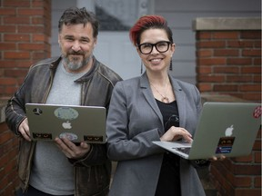 University of Windsor professors, Dave Cormier, left, and Bonnie Stewart, pictured outside their home, Wednesday, April 15, 2020, are offering webinars in how to teach online.