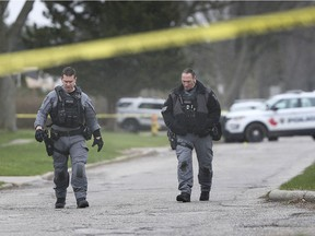 Windsor police officers at the scene of a stabbing in the 2400 block of Westminster Boulevard on April 15, 2020.