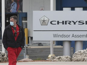 A security guard is shown at the idled FCA Windsor Assembly Plant on Friday, May 8, 2020. Efforts are underway to resume production at the plant.