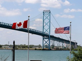 Though the border between Canada and the U.S. will remain closed to non-essential traffic for another month, there was plenty of truck traffic on the Ambassador Bridge in Windsor.