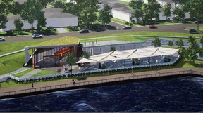 Designer renderings of the Celestial Beacon Gallery structure planned for Windsor's riverfront.