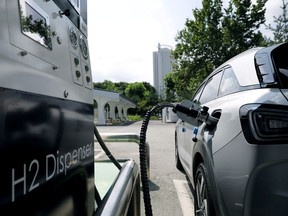 A Hyundai Motor's Nexo hydrogen car is fuelled at a hydrogen station in Seoul, South Korea, Aug. 13, 2019.