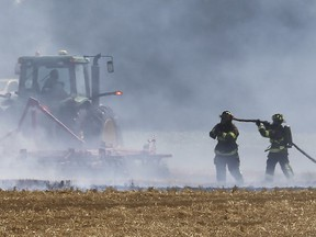 Tecumseh firefighters along with a quick thinking farmer quickly put out a massive wheat field fire on Talbot Road South at Holden Road on Wednesday, July 15, 2020. The fire occurred at approximately 11:00 a.m. Several fire units responded as well a call was made to Essex for mutual aid. As the flames spread a farmer provided a big hand by snuffing out the fire with a plough like instrument. No injuries were reported.