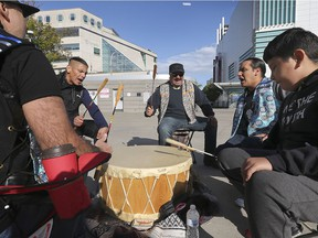 """""""It's a show of resistance."""" Native drummers with the Can-Am Indian Friendship Centre participate in a protest at Charles Clark Square on Wednesday, Oct. 7, 2020. The small group held the protest in front of the Superior Court of Ontario, which is dealing with a disputed property issue."""