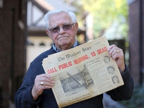 """""""Scene of utter devastation and chaos."""" Walt McCall, now 82, was a rookie Windsor Star reporter and one of the first on the scene when a deadly explosion destroyed Windsor's Metropolitan department store on Oct. 25, 1960. Here, he's shown on Friday, Oct. 23, 2020, with a copy of the next day's Windsor Star front page, including his award-winning first-person account of the downtown tragedy."""